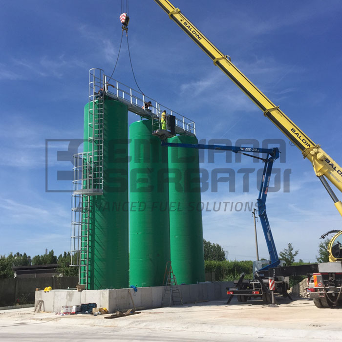 Triple vertical tank, capacity 150.000 L