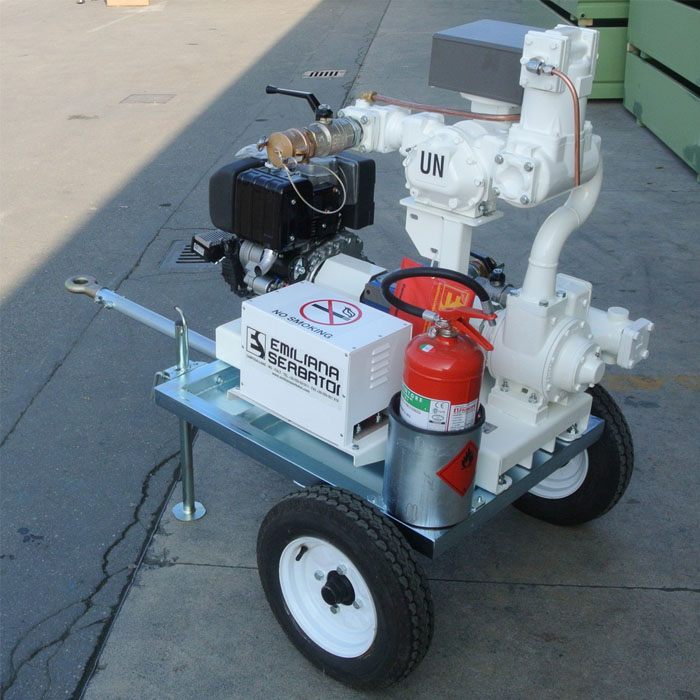 Fuel transfer motor pumps trailers