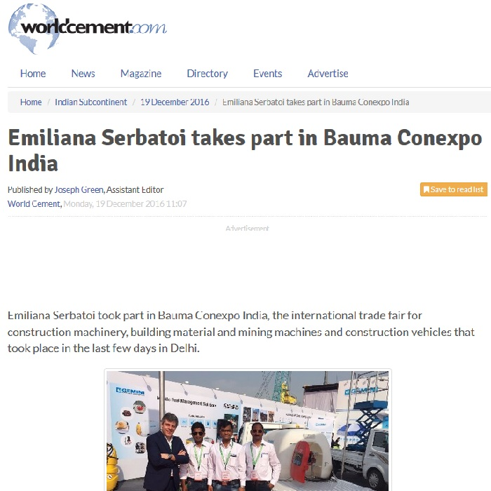 "Emiliana Serbatoi al Bauma India: il punto di ""World cement"""