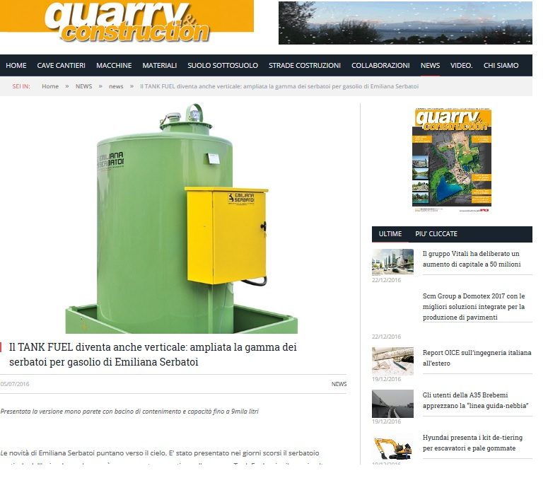 "Si discute dei Tank Fuel verticali anche su ""Quarry and construction"""